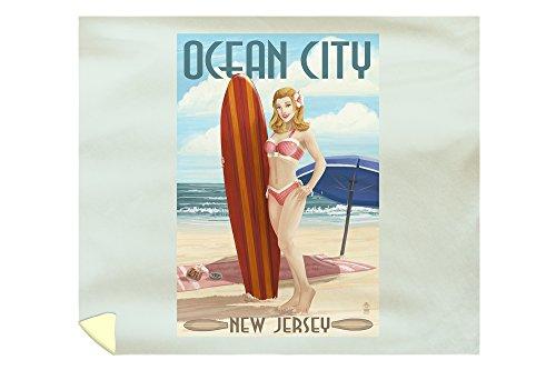 Lantern Press Ocean City, New Jersey - Surfing Pinup Girl 44498 (88x104 King Microfiber Duvet Cover) (Pottery Barn Kids Surf Bedding)