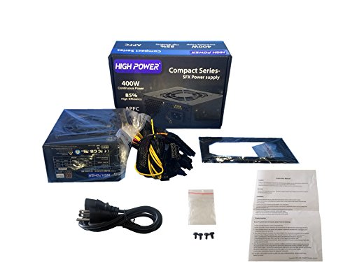 HIGH POWER Compact Series 400-Watt Mini ITX/ SFX12V / Micro ATX / PS3 80Plus Bronze Certification Active PFC 2x PCIE Power Supply (SFX-400 BR) (Power Series Compact)