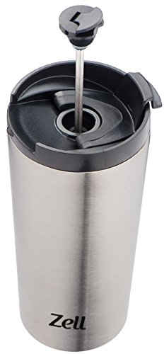 Zell Vacuum Insulated French Press Mug for Tea & Coffee (12 oz)
