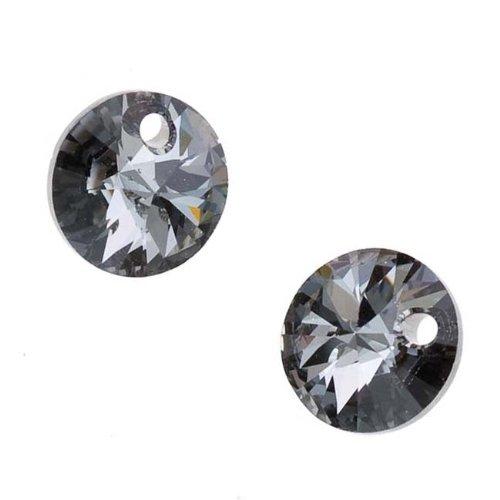 Swarovski Crystal, #6428 Xilion Round Pendants 8mm, 8 Pieces, Crystal Silver Night 8 Mm Xilion Pendant