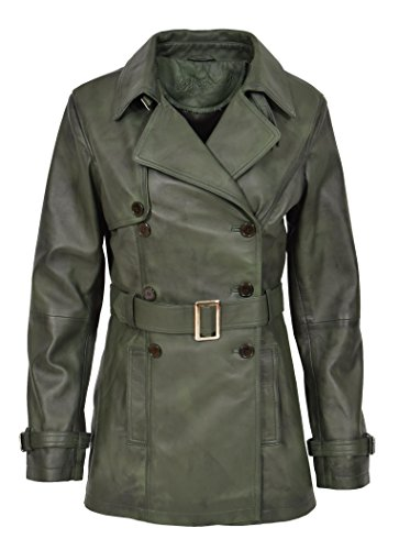 mujer verde A1 Goods 40 Fashion manga Coat Trench larga para verde 6Aw06Tnq