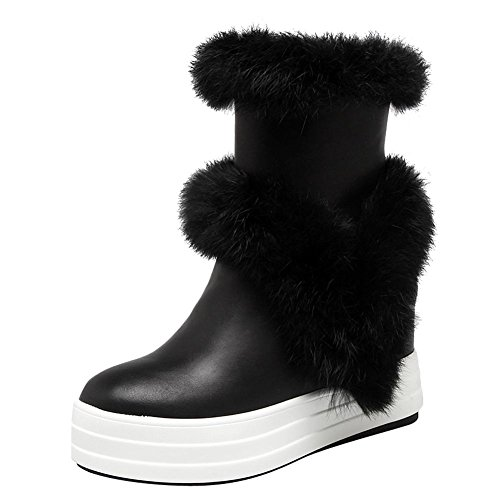 Charm Foot Womens Sweet Zipper High Heel Hidden Heel Platform Snow Boots Black 47tOLlF