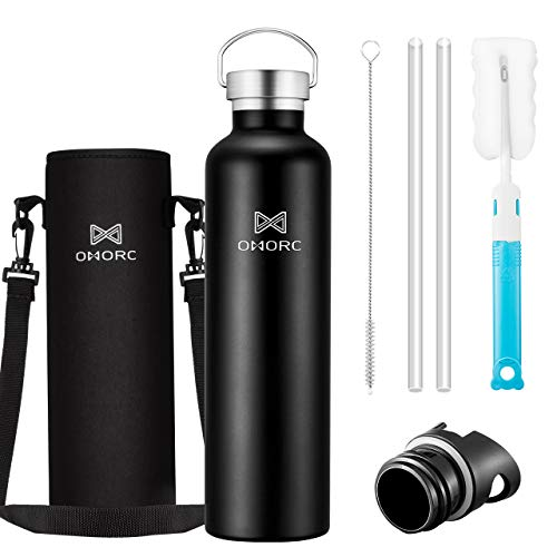 OMORC 316 Stainless Steel Sports Water Bottle-20oz,34oz, Double Wall Vacuum Insulated Water Bottle, Straw and 2 Lids, Wide Mouth,Thermo Travel Modern Mug,Stay Cold for 48 Hrs,Hot for 24 Hrs,BPA Free (Best Water Bottle With Straw)