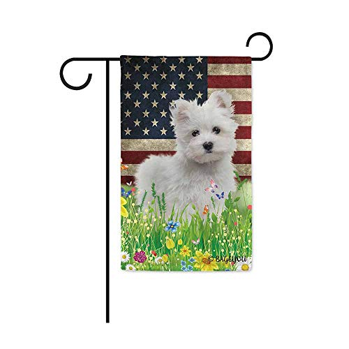 BAGEYOU Cute Puppy Maltese Garden Flag Lovely Pet Dog American US Flag Wildflowers Floral Grass Spring Summer Decorative Patriotic Banner for Outside 12.5x18 inch Printed Double Sided