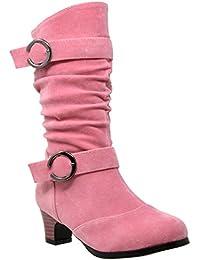 Kids Girls Knee High Mid Calf Boots Double Buckle Zip Close High Heel Shoes GY-BK-JOE-15