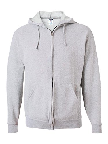 Ash Hoody Full Zip Sweatshirt (Jerzees 8 oz., 50/50 NuBlend Fleece Full-Zip Hood M ASH)