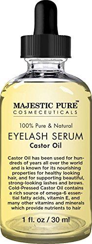 Majestic Pure Castor Oil Eyelash Serum, Pure and Natural, Promotes Natural Eyebrows & Eyelash Growth, Free Set of Mascara Brush and Eyeliner Applicator - 1 fl oz by Majestic Pure (Image #1)