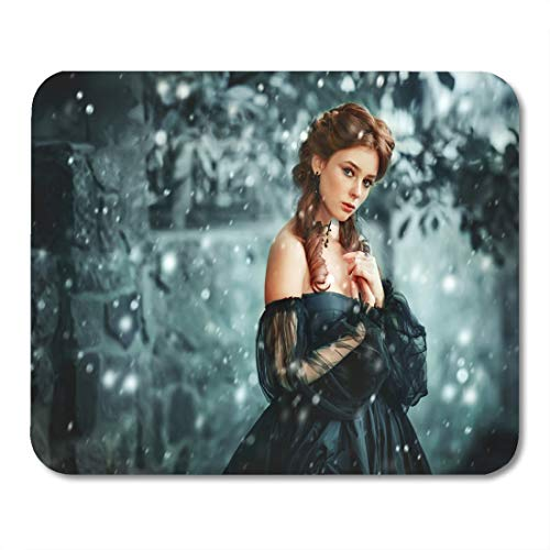 Boszina Mouse Pads Winter Portrait of Beautiful Red Haired Girl in Gothic Black Pretty Young Princess and Queen Under Mouse Pad 9.5
