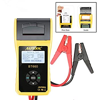 Image of AUTOOL Automotive Battery Tester 12V/24V Car Battery System Tester Cranking and Charging Test System Analyzer Scan Tool with Printer (BT-660) Battery Testers