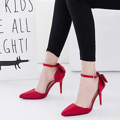 Talones de las mujeres oficina y carrera de primavera y verano del club del cuero de zapatos de boda Fiesta y Noche Tacón de Aguja Bowknot Negro Rojo Rosa Gris Otras Red