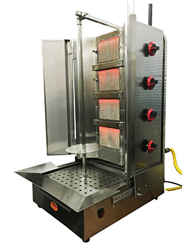 Capacity Gas Vertical Gyro Broiler (Shawarma Machine- Gyro Machine-Tacos al Pastor Machine- Doner Machine- Commerical Vertical Broiler 4 Burners Natural Gas - Maneuverable Burners- Capacity 85lbs)