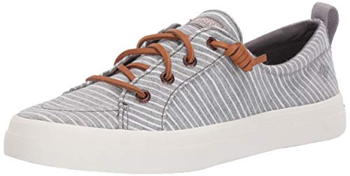 SPERRY Women's Crest Vibe Chambray Stripe Sneaker, Grey/White, - Stripe Canvas Grey