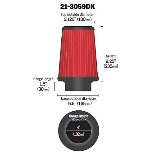 AEM 21-3059DK Universal DryFlow Clamp-On Air Filter: Round Tapered; 4 in 102 mm 130 mm Top Height; 6.5 in Base; 5.125 in 235 mm 165 mm Flange ID; 9.25 in