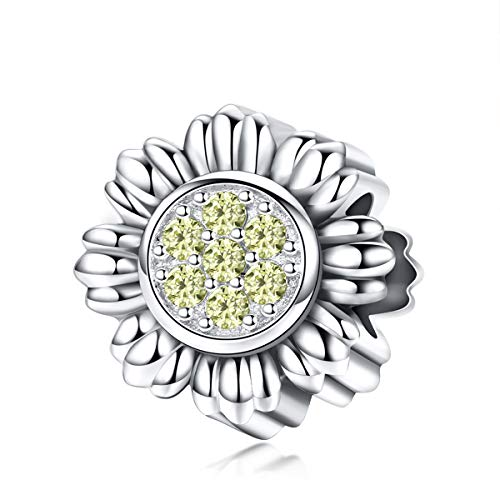 - BISAER Sterling Silver Bead Charms, Cute Sunflower Bracelet Charms Bead with Sparkling Yellow CZ Jewelry Charms for Bracelets Necklace.