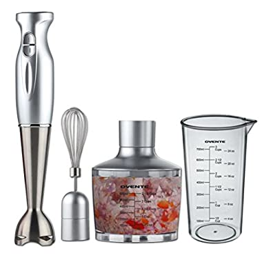 Ovente HS585S Robust Stainless Steel Immersion Hand Blender with Beaker, Whisk Attachment and Food Chopper, Silver