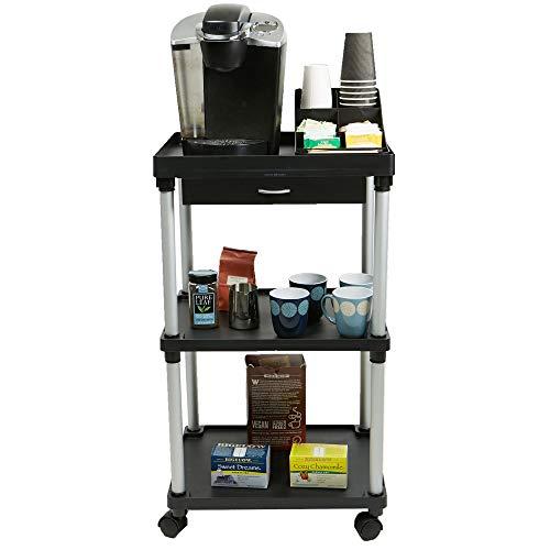 Mind Reader All Purpose Rolling Cart, Printer Cart, Utility Cart, Kitchen Cart, Coffee Cart, Microwave Cart, Bathroom Cart, 3 Tier, Black with Free Condiment Organizer