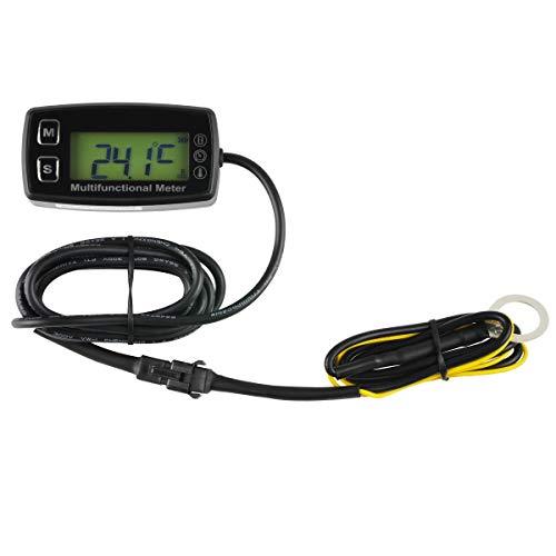 Digital Engine Tach Hour Meter Tachometer Thermometer Temperature Temp Gauge Sensor for ATV UTV Dirt Bike Motorcycle Outboards Snowmobile Generator Mower PWC Marine Boat