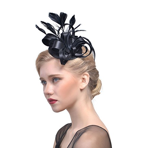 Partyhat Feather Fascinator Hair Clip Headband 1920s Costume Flapper Headpiece -