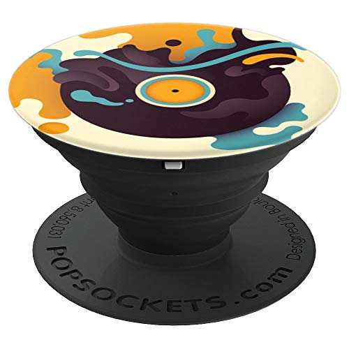 Wild Retro Vinyl Record Liquifying Artistically For DJs - PopSockets Grip and Stand for Phones and Tablets