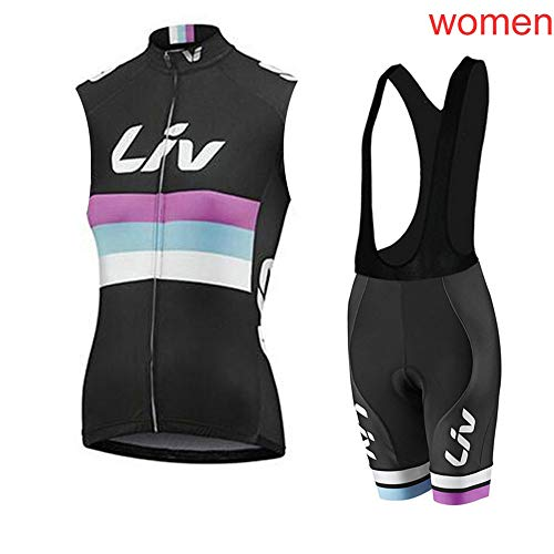 Women's Sleeveless Cycling Jerseys Bib Shorts Set Bicycle Jersey Summer Quick Drying Breathable Jersey V281 (O, -