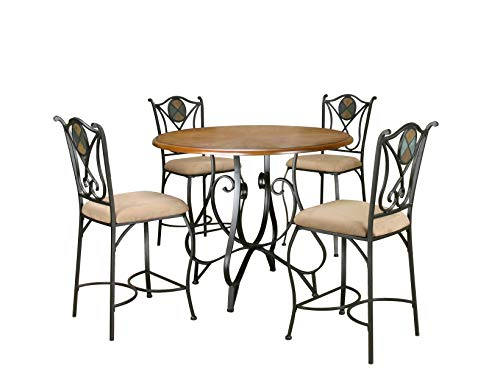 Sunset Trading CR-W2597-5PC Vail Dining Pub Table Set, Espresso/Dark Oak/Beige