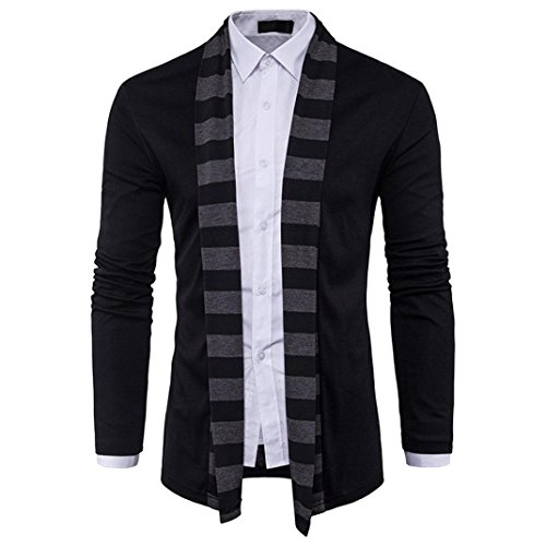 Detail Cashmere Cardigan (Men Cardigan Knit ,Toponly Men's Autumn Winter Sweater Cardigan Knit Knitwear Coat Jacket Sweatshirt (Black, M))