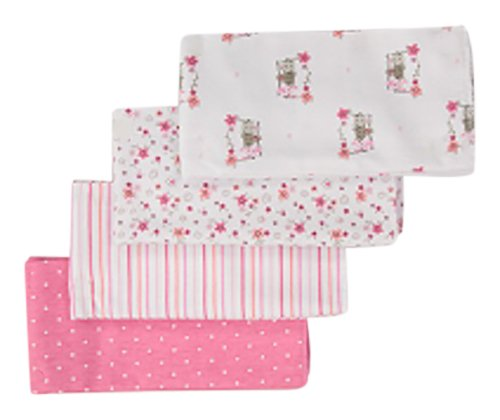 Gerber Baby Girls 4 Pack Flannel Burp Cloth, Lil' Flowers, One Size ()