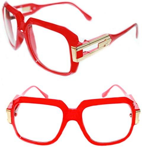 Men's Hip Hop GrandMaster Vintage 80s Retro 80's 623 Clear Lens Eye Glasses (Red - Eyeglasses 80s