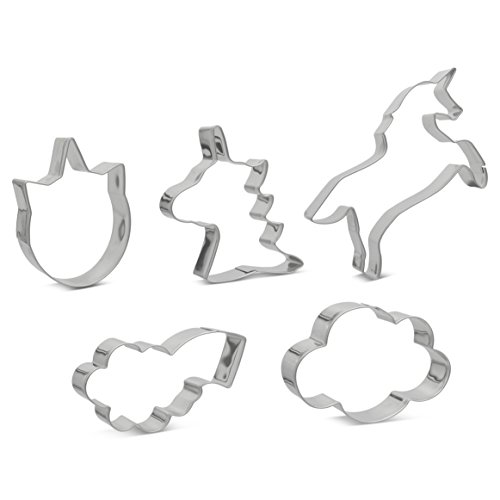Unicorn Magic Set of 5 Cookie Cutters Stainless Steel Professional Quality Cookie Cutter Set Includes Unicorn Head, Unicorn Face, Unicorn Leaping, Cute Cloud & Cloud With Rainbow Burst Cookie Cutters ()