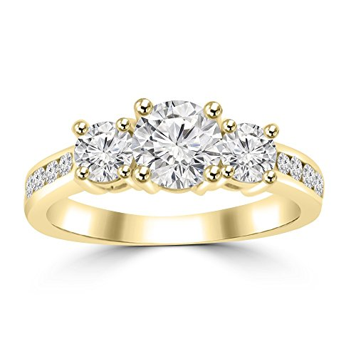 1.97 ct Three Stone Round Cut Diamond Engagement Ring G Color SI-1 Clarity in 14 kt Yellow Gold In Size 5.5 -