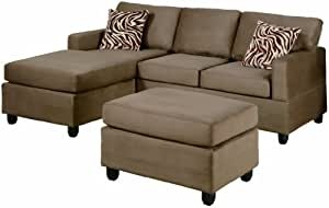 Bobkona Manhattan Reversible Microfiber 3-Piece Sectional Sofa Set, Saddle