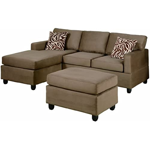 Bobkona Manhattan Reversible Microfiber 3 Piece Sectional Sofa Set, Saddle