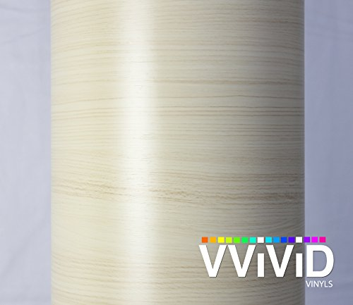 VVIVID White Maple Wood Grain Faux Finish Textured Vinyl Wrap Contact Paper Film for Home Office Furniture DIY No Mess Easy to Install Air-release Adhesive (3ft x 48