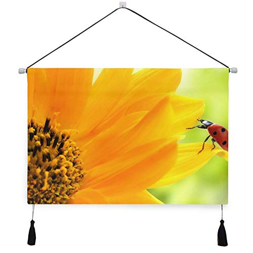 AfdsaswfvsJj Plant Series Charming Cute Sunflower Ladybug Scroll Tapestry Personality Canvas Painting Wall Hanging with Tassels Background Artwork Decorative Living Room Bedroom 17.5x24.5 Inches