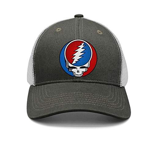 Grateful Dead Visor - HJHJFT Mens/Woman Adjustable Trucker Hat Grateful-Style-Dead-Symbol-Steal-Your-Face-Vintage- Dad Muisc Baseball Hat Caps