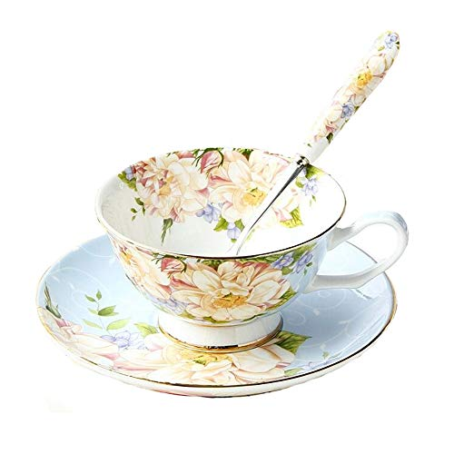 Vintage Fine Bone China Tea Cup Spoon and Saucer Set Gold Trim Fine Dining and Table Decor (Blue Rose)