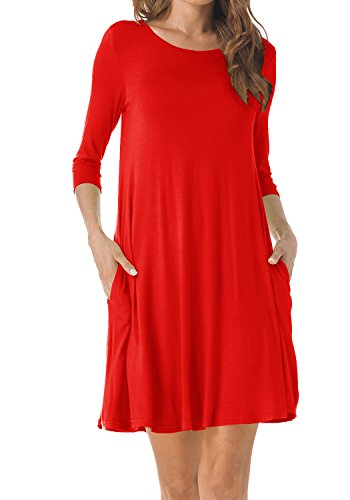 TINYHI Women's O-Neck 3/4 Sleeves Tunic Pocket Loose Casual Swing Tshirt (Red Tunic Dress)
