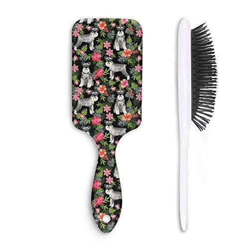 Unisex Detangle Hair Brush Schnauzer dog Hawaiian floral pattern Boar Bristle Paddle Hairbrush for Wet, Dry, Thick, Thin,Curly hair