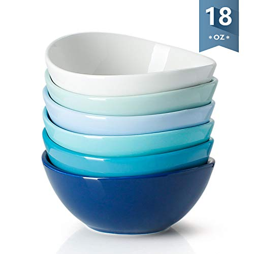 Sweese 1122 Porcelain Bowls - 18 Ounce for Cereal, Salad, Dessert - Set of 6, Cool Assorted Colors