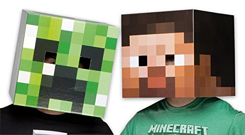 Notch Minecraft Costume (Minecraft Mask set Creeper & Steve Head)
