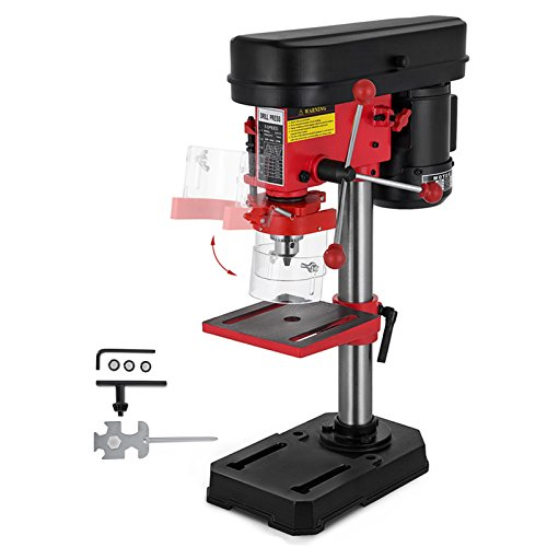 OrangeA 5 Speed Bench-Top Drill Press 8 Inch Heavy-duty Bench Mount Drill Press 350W 220V Electric Floor Standing Drill Press 13mm Max Drilling Diameter 1.6AMP Benchtop Drill Press (5 Speed) by DreamJoy