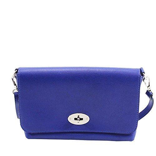 DIVA cuir Bleu pour femme Noir métal véritable pour bandoulière 'S Roi Small NEUF sac bandoulière détail SERRURE haute 8Bw5qaq