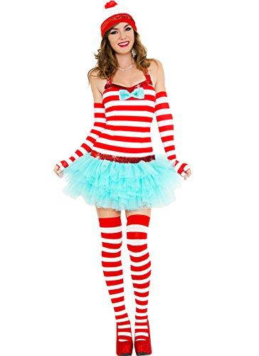 World Traveler Halloween Costume (MUSIC LEGS Women's Adventurous Traveler, Red/White, Small/Medium)