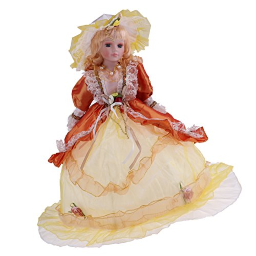 Fityle Elegant Handcrafted Vintage Winter Porcelain Girls Dolls With Display Stand Yellow