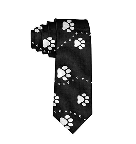 Paw Print Tie - Polyester Luxury & Funny Ties-Mens, Dog Paw Print Style Black Boys, Gentleman, Elegant, Slim Skinny For Holiday, Festival, Dances, Wedding, Party