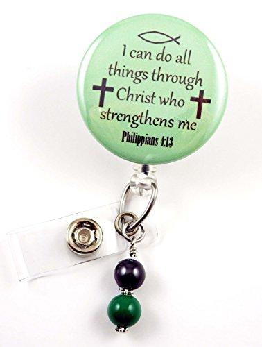 I Can Do All Things Through Christ Green Mylar - Nurse Badge Reel - Retractable ID Badge Holder - Nurse Badge - Badge Clip - Badge Reels - Pediatric - RN - Name Badge Holder