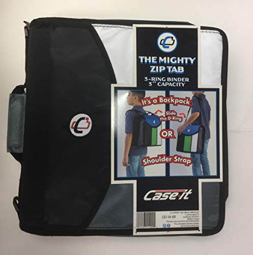 (Case it The Mighty Zip Tab 3-Ring 3 inch Capacity Binder (OD-56-BB) D Ring (Backpack or Shoulder Strap) (Black))