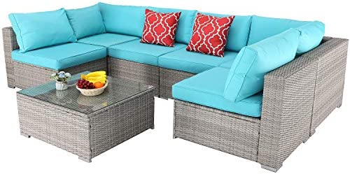 Furnimy 7 PCS Outdoor Patio Furniture Set Cushioned Sectional Conversation Sofa Set Rattan Wicker Gray with Tempered Glass Coffee Table and a couple of Red Pillows (Turquoise)