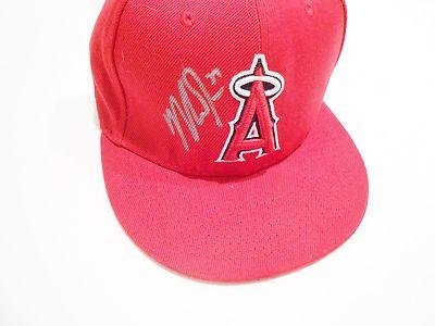 Amazon.com  Mike Trout Signed Anaheim Angels Fitted MLB Baseball Hat ... 1d74d9165d7
