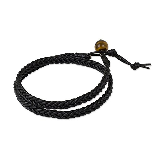 "NOVICA Tiger's Eye Black Braided Leather Men's Wrap Bracelet, 16.5"" 'Double Ebony' from NOVICA"